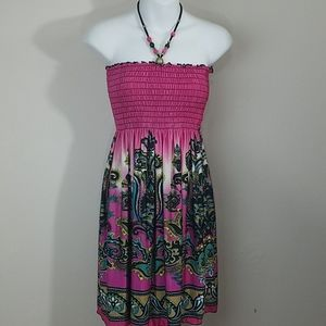Sundress pink beaded halter top elastic bodice